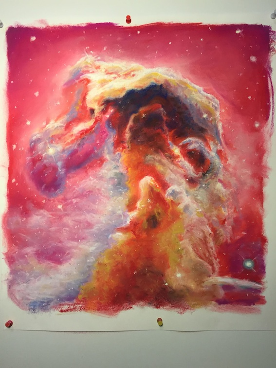 Horsehead nebula, pastel on paper, 46/48 cm