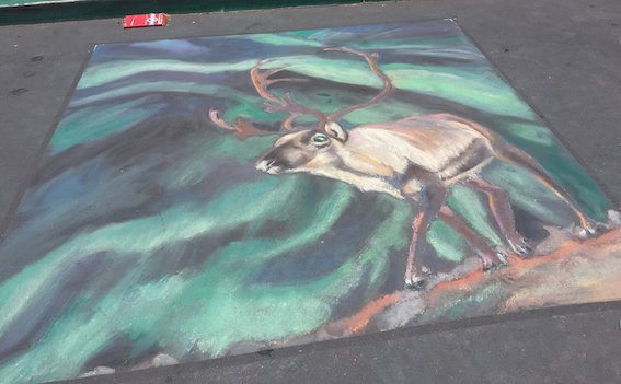 Chalk on pavement, 240 cm/ 240 cm aka 8' /8' ish