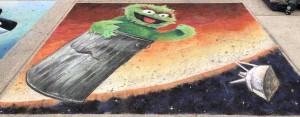 Chalk on pavement, 300 cm/ 240 cm aka 10 / 8 '